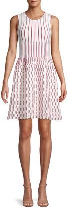 Herve Leger Contrast Scallop A-Line Dress