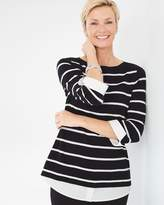 Chico's Striped Layered Effect Pullover