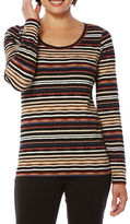 Rafaella Striped Cotton-Blend Long-Sleeve T-Shirt