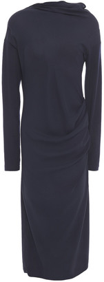 Brunello Cucinelli Draped Paneled Wool-blend Jersey And Silk-crepe Midi Dress
