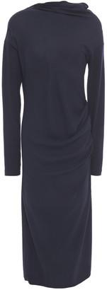 Brunello Cucinelli Draped Silk-crepe And Wool-blend Jersey Midi Dress