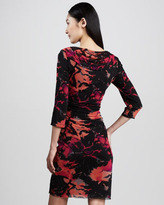 Kay Unger New York Floral-Print Cowl Dress