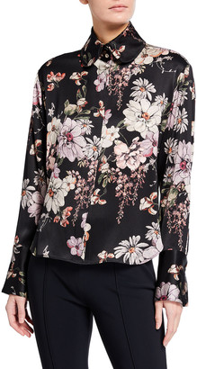 Adam Lippes Long-Sleeve Floral-Print Charmeuse Blouse
