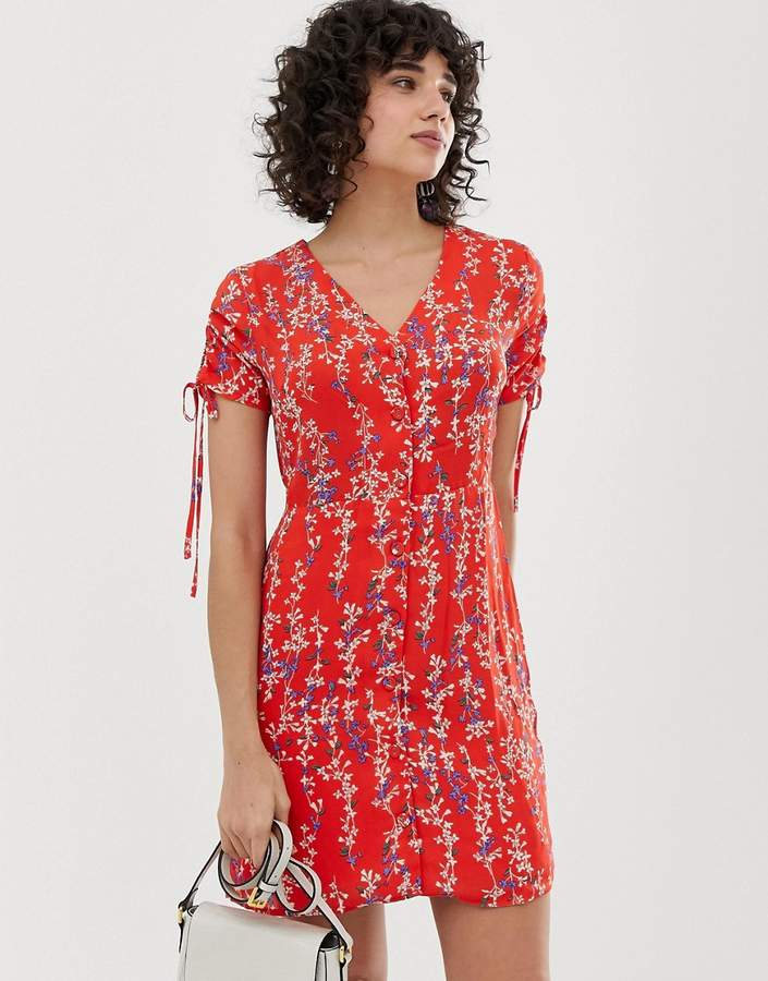 Moon River Ditsy Floral Wrap Dress