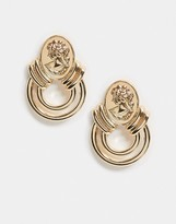 Asos Design DESIGN earrings with coin stud and cut out circle drop in gold tone