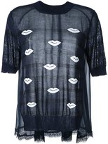 Muveil lips motif knit T-shirt - women - Cotton/Acetate - 38