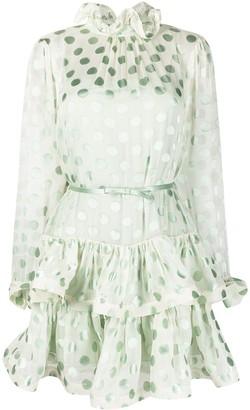Zimmermann Sheer-Panel Polka-Dot Silk Dress