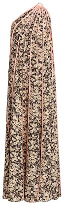Stella McCartney Louisa Silk Stripe One-Shoulder Floral Dress