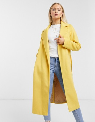 Helene Berman wool blend wrap coat in yellow