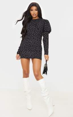 PrettyLittleThing Black Polka Dot Long Sleeve Puff Shoulder Bodycon Dress