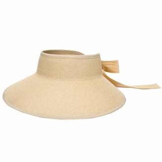 Pineapple&Star Hat Pineapple&Star Vienna Visor Women's Summer Sun Straw Packable UPF 50+ Beach Hat - Beige - One Size