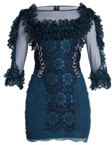 Christopher Kane Contrast-panel Ring-embellished Lace Mini Dress - Womens - Navy