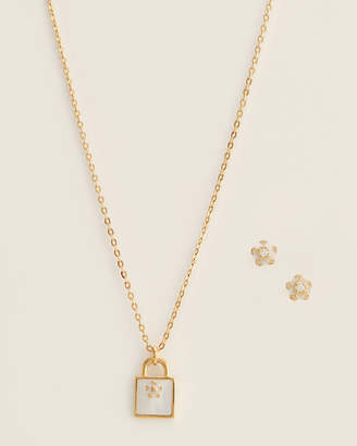 Michael Kors Gold-Tone Padlock Pendant Necklace & Stud Earrings Set