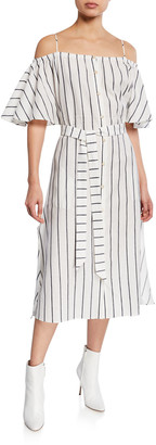 Palmer Harding Tulum Striped Cold-Shoulder Midi Dress