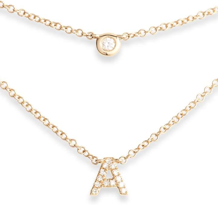Ef Collection Diamond Bezel Initial Choker