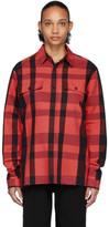 Marcelo Burlon County of Milan Red and Black Logo Check Shirt