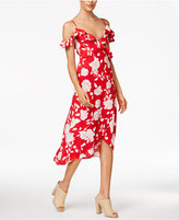 MinkPink Enchanted Rose Cold-Shoulder Wrap Dress