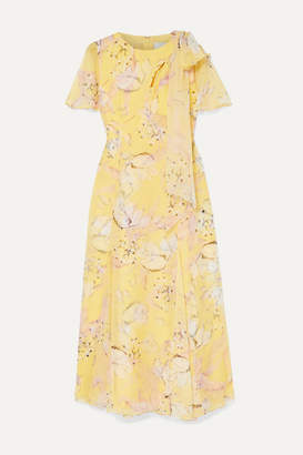 Erdem Kirstie Floral-print Silk-voile Midi Dress - Yellow