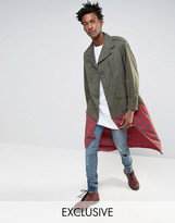 Reclaimed Vintage Revived Military Jacket With Plaid Underlay