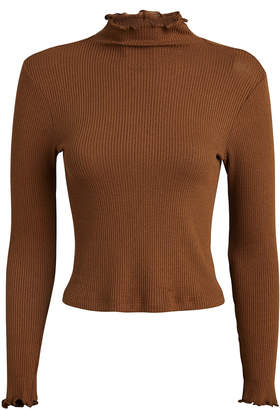 Enza Costa Cropped Rib Knit Turtleneck Top