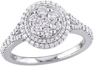 Affinity Diamond Jewelry Affinity 9/10 cttw Diamond Double Halo Engagement Ring, 14K