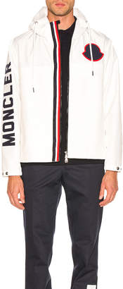 Moncler Logo Windbreaker in White | FWRD