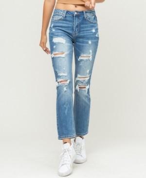 VERVET Women's Distressed Stretch Back Crease Line Boyfriend Jeans