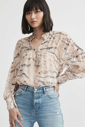 Witchery Print Gathered Tie Blouse
