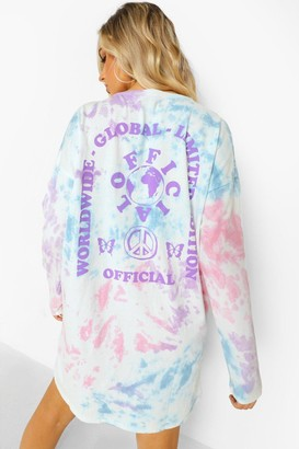 boohoo Tie Dye Back Print Long Sleeve T-shirt Dress
