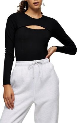 Topshop Ponte Slash Cutout Bodysuit