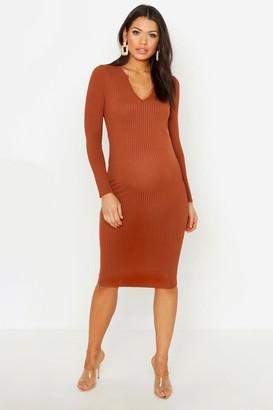 boohoo Maternity Long Sleeved Notch Midi Dress