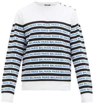 Balmain Logo Stripe Cotton Jersey T Shirt - Mens - Black Blue