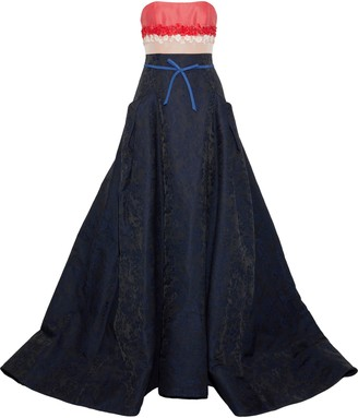 Carolina Herrera Strapless Floral-appliqued Woven, Faille And Jacquard Gown