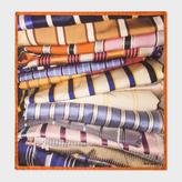 Paul Smith Men's Orange 'Tie' Print Silk Pocket Square