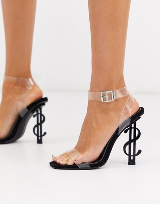Public Desire Cash heeled sandal with clear upper in black