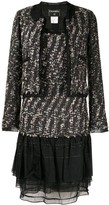 Chanel Pre Owned ruffled details tweed jacket and dress set