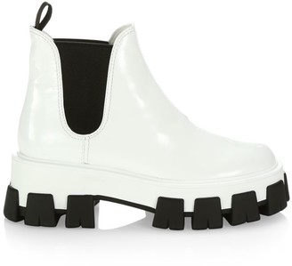 Prada Lug-Sole Patent Leather Chelsea Boots
