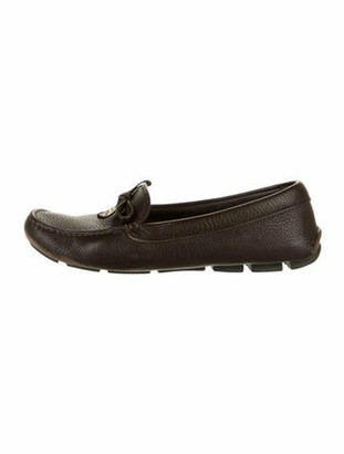Prada Leather Bow Accents Loafers Brown