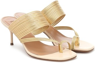 Aquazzura Sunny 60 leather-trimmed sandals