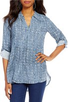 Intro Seam Front Denim Print Long Roll-Tab Sleeve Lyocell Tunic