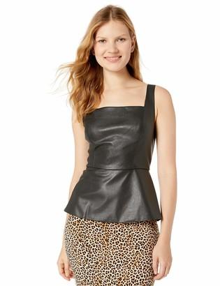 BCBGMAXAZRIA Women's Sleeveless Faux Leather Peplum Top