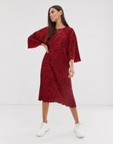 Asos Design DESIGN leopard print midi plisse huge t-shirt dress