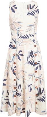 Vince Camuto V-Neck Sleeveless Print Midi Dress