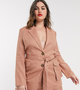 ASOS DESIGN Curve splendid linen suit blazer