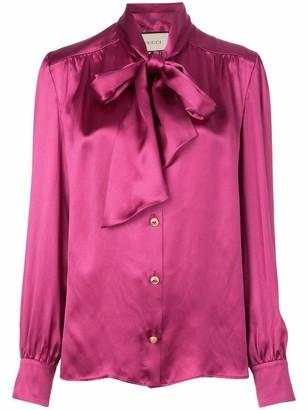 Gucci Tie Neck Silk Button Down Blouse