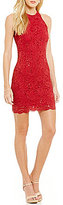 Jump High Neck Sleeveless Scalloped-Hem Open-Back Sequin Lace Sheath Dress