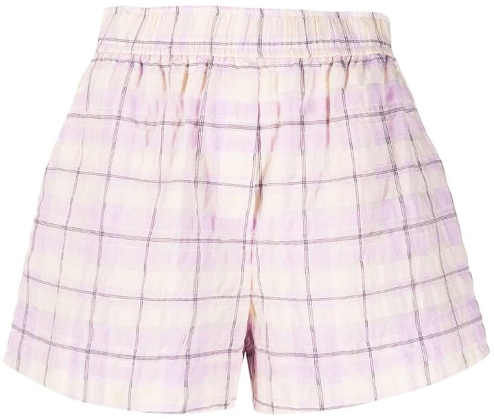 Ganni Seersucker Check Stretch Shorts