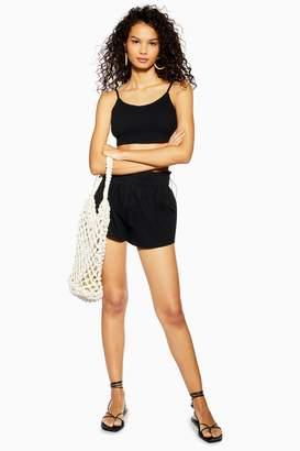 Topshop Womens Black Shirred Toggle Crop Top And Shorts Set - Black