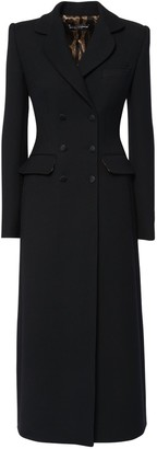 Dolce & Gabbana Wool Crepe Double Breast Long Coat