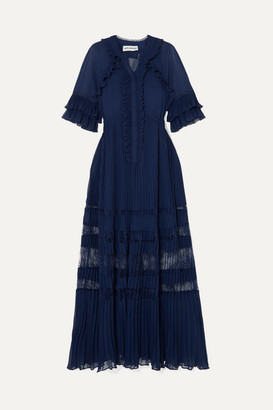 Self-Portrait Ruffled Lace-trimmed Pleated Chiffon Maxi Dress - Navy